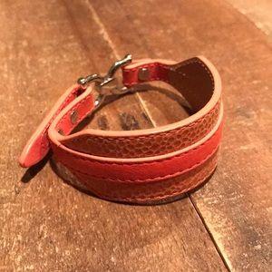 Fossil women's leather cuff bracelet pink & tan
